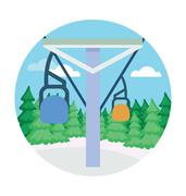 Chairlift Landscape Vector Icon - stock illustration