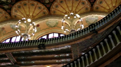 Ceiling of Palace of Catalan Music, tilt Stock Footage