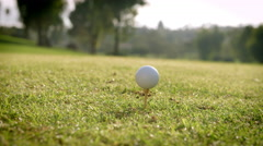 Close Up Of Golfer Hitting Tee Shot In Slow Motion Stock Footage