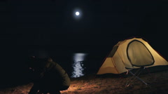 Moonrise above the tourist tent. Stock Footage