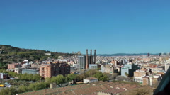 Barcelona panoramic view, shot from Christopher Columbus monument Stock Footage