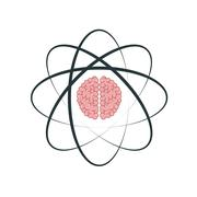 atom with brain icon - stock illustration