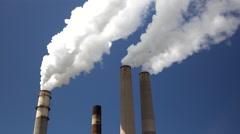 Big Bend Power Station Smoke Stacks Tampa Florida 4K Stock Footage