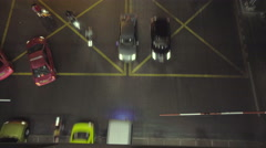 Bird's eye view looking down on top of traffic jam in busy Bangkok city at night Stock Footage