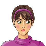 woman with headband and turtleneck sweater - stock illustration