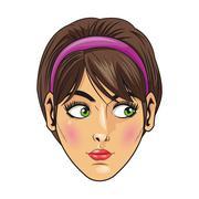 woman with purple headband - stock illustration