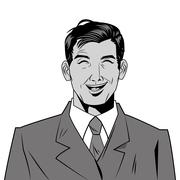 Man with jacket and tie laughing Stock Illustration