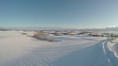 Furano aerial shoot in winter Stock Footage