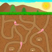 Cartoon worms underground - stock illustration