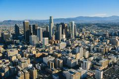 Aerial view of los Angeles and city skyscrapers, California, USA - stock photo