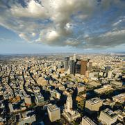 Aerial view of city skyscrapers, Los Angeles, California, USA - stock photo