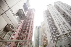 Low angle view, apartment buildings, Hong Kong Stock Photos