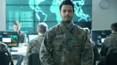 Portrait of Officer in Uniform in Monitoring Room on Military Base - stock footage