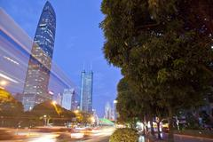 KK100 building, Shenzhen, early evening, long exposure, China - stock photo