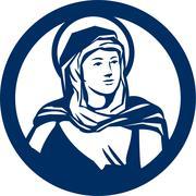 Blessed Virgin Mary Circle Retro Stock Illustration