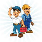 Plumbing service. Plumber cartoon design. vector graphic Stock Illustration