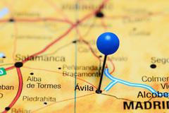 Avila pinned on a map of Spain Stock Photos