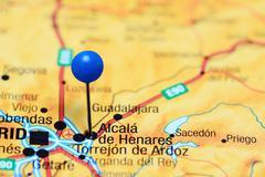 Alcala de Henares pinned on a map of Spain Stock Photos