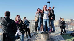 Group Of Young Friends Having Fun And Taking Selfie By Smartphone Stock Footage