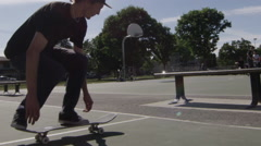 Slow motion skateboard jump - ollie - stock footage