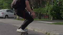 Skateboarder ollie in slow motion - stock footage