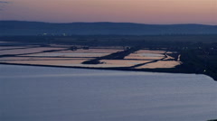 Panoramic views of the salt pans before sunrise Stock Footage