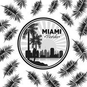 Miami florida design. Palm tree and City icon. Vector graphic - stock illustration