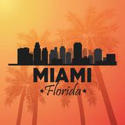Miami florida design. Palm tree and City icon. Vector graphic - stock illustration