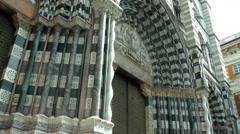 Entrance door in Genova Cathedral, close-up Stock Footage