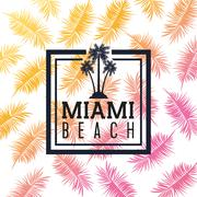 Palm tree and leaf icon. Miami florida design.Vector graphic - stock illustration