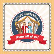 Holy family icon. Merry Christmas design. Vector graphic - stock illustration