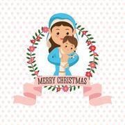 Holy  Mary with baby jesus icon. Vector graphic - stock illustration
