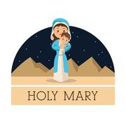 Holy  Mary with baby jesus icon. Vector graphic Stock Illustration