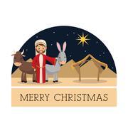Joseph icon. Merry Christmas design. Vector graphic - stock illustration