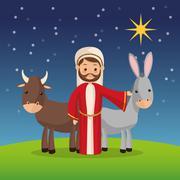 Joseph and farm animals icon. Merry Christmas design. Vector gra - stock illustration
