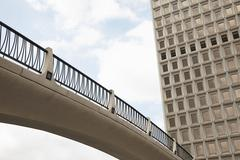 Low angle view of footbridge, City Hall East, Los Angeles, California, USA - stock photo