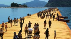 Floating Piers By Christo, Lake Iseo Stock Footage