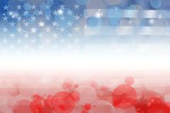 USA flag, red white and blue circles - stock illustration