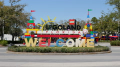 Legoland Lego Theme Park Welcome Sign Florida United States Stock Footage