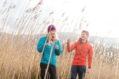 Young couple hiking, Derwent Water, Keswick, Lake District, Cumbria, United - stock photo