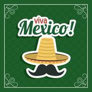 Hat and mustache  icon. Mexico culture. Vector graphic Stock Illustration