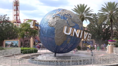 The Universal Studios Rotating Logo Globe At Orlando Florida Theme Park - stock footage