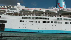 Thompson Celebration cruise ship sailing out from port of La Valletta, Malta. Stock Footage