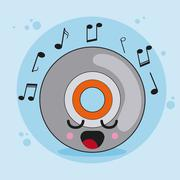 cd icon. Kawaii and technology. Vector graphic - stock illustration