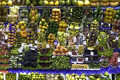 Fruit and vegetable market stall, Sao Paulo, Brazil - stock photo