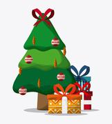 Pine tree and gifts design. Merry Christmas. vector graphic Stock Illustration