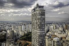 View of the Italy building above city skyscrapers, Sao Paulo, Brazil - stock photo