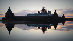 Solovki at sunset Stock Footage