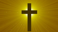 Light cross of Christ, ray beams background - stock footage