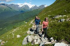 Group of people hiking, North Face Trail, Alyeska Prince Hotel, Alyeska Resort, - stock photo